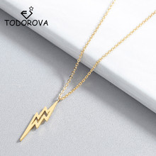 Todorova Geometric Delicate Lightning Necklaces for Women Jewelry Tiny Charms Thunder Bolt Pendant Necklace Wedding Gifts delicate alloy geometric necklace for women