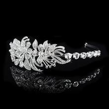 Fashion Crystal Leaves Hairband Bridal Wedding Hair Accessories Tiara For Women Rhinestone Crown Hair Jewelry Princess Headwear