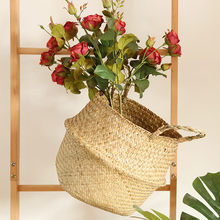 Seagrass Wicker Basket Wicker Basket Flower Pot Folding Basket Dirty Basket Rattan Seagrass Belly Garden Flower Pot Planter #O(China)