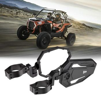 """KEMIMOTO Black UTV CNC Rear View Side Mirror Set W/ 1.7""""-2"""" Clamp Roll Cage For Can Am Maverick X3 For Polaris RZR 800 900 1000"""