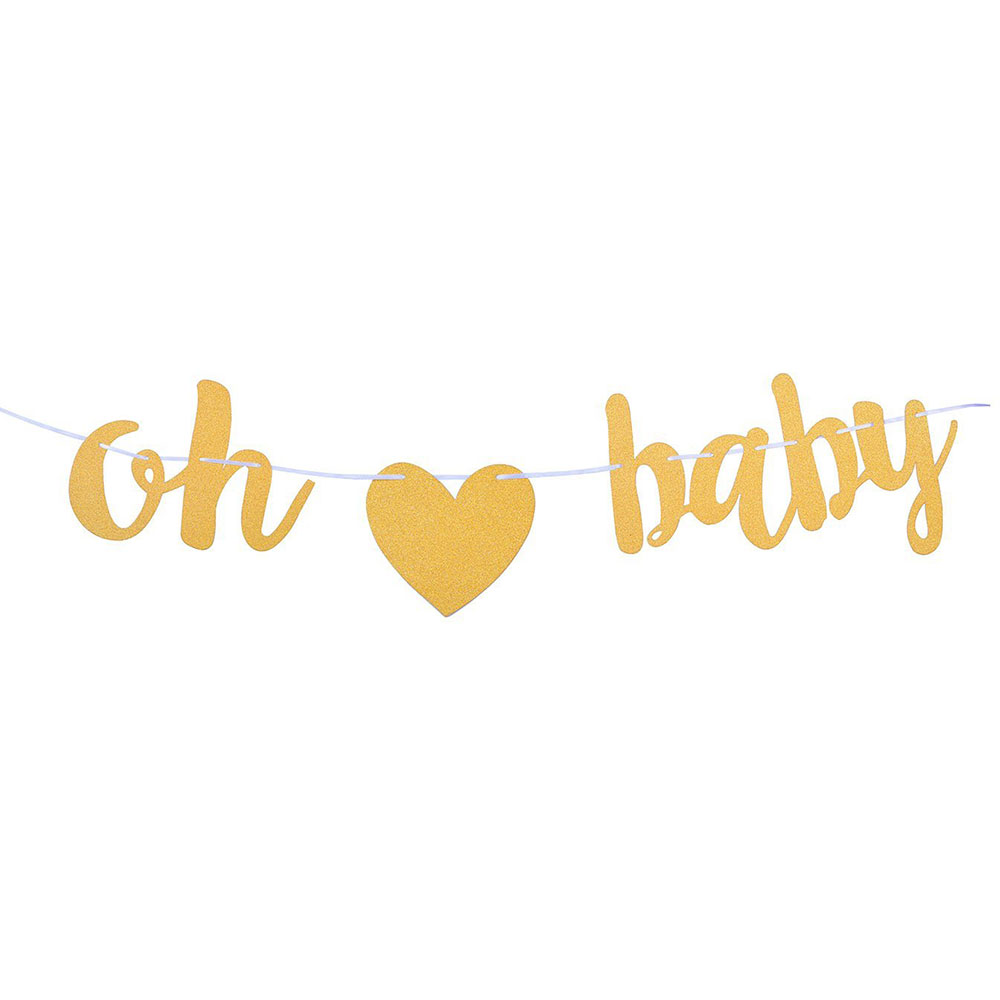 ZLJQ 1pcs OH BABY Gold Glitter Banner with Heart  Baby Shower  Pregnancy Announcement  Gender Reveal Party Decor