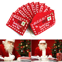 10pcs/set Santa Claus Letter Red Envelope Embroidery Card Candy Bag Christmas Gifts Packing Bag Christmas Supplies