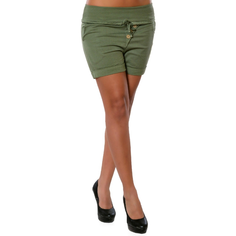 Womens Skinny Shorts Straight Fit Elastic Waist Lace Up Button Decor Shorts plus size 4XL 5XL