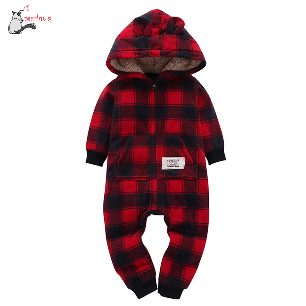 Baby   Rompers   Winter Thick Clothes Infant Boys Girls Thicker Grid Hooded   Romper   Jumpsuit Outfit Kids Clothes Fleece cotton