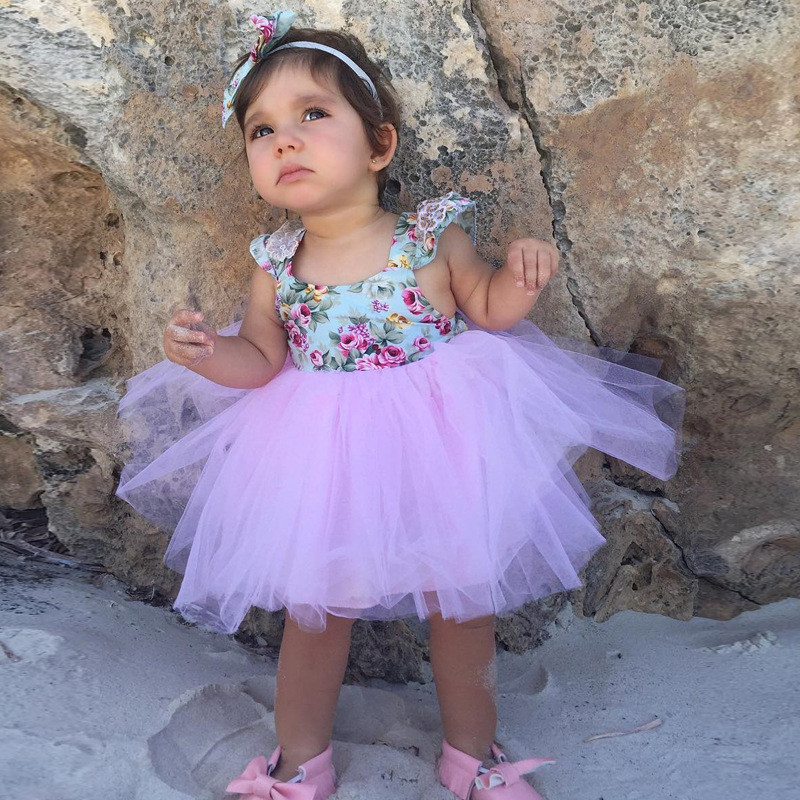 RUBU New Toddle Girls Summer Beach Dresses Baby Girl Floral Lace Dresses Party Wedding Kids tutu Vestidos Children clothes 2-5Y