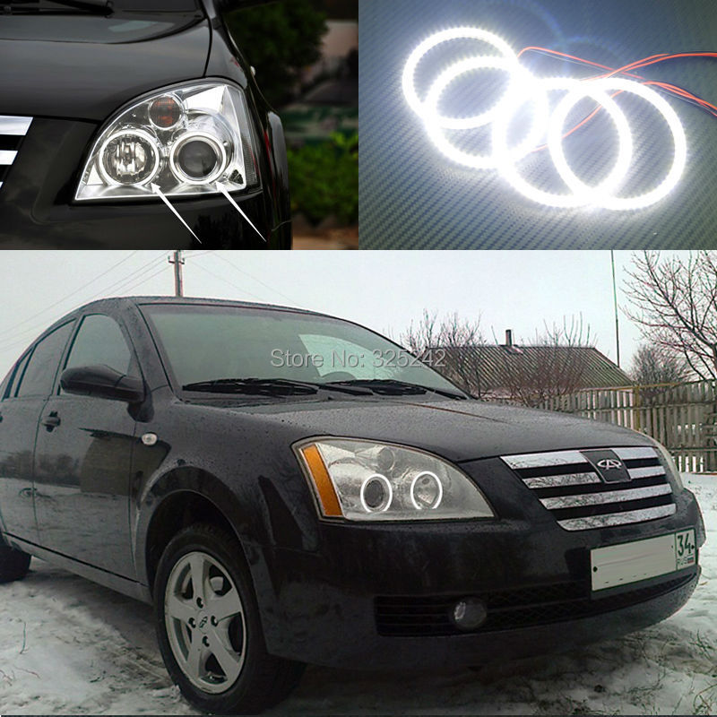For Chery A5 J5 Fora 2006 2007 2008 2009 2010 Excellent Ultra bright illumination smd led Angel Eyes Halo Ring kit canbus error free ac hid xenon conversion kit emc ballast headlights foglights h1 h3 h7 9005 hb3 9006 hb4 h11 4300k 6000k 8000k