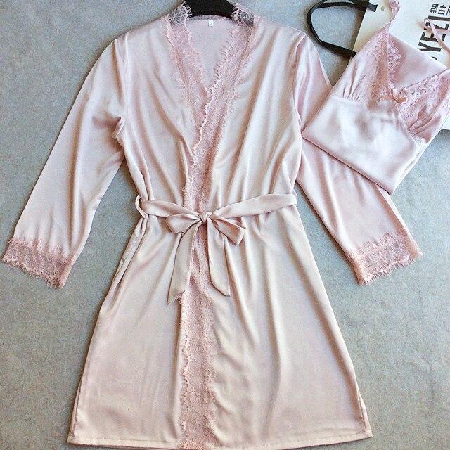 High Quality Brides Wedding Robe Gown Sexy New Women's Satin Lace Sleepwear 2PCS Nightgown Set Kimono With Nightie M L XL XXL