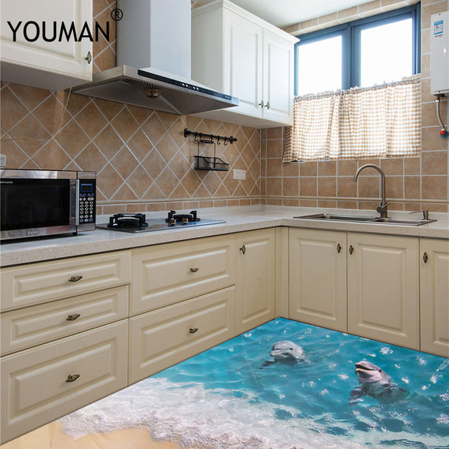 Us 737 33 Offtapeten Youman 3d Delphin Boden Aufkleber Schöne Meer Nette Wasserdichte Pvc Bad Home Decor Umweltfreundliche Kinder Kind S In
