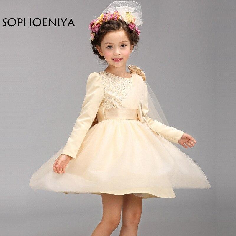 New arrival Long sleeve   Flower     Girl     Dresses   2019 vestido de festa longo   flower     girl     dress   first Communion   dresses   for   girls
