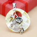 40mm Natural Abalone seashells flower pendants round delicate Women jewelry making design diy crafts Retail and wholesale Series