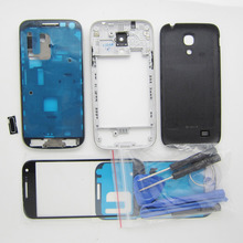 Full Housing Cover Repair For Samsung Galaxy S4 Mini i9195 I9190 Front Bezel + Middle Frame + Rear case + Buttons + Outer glass