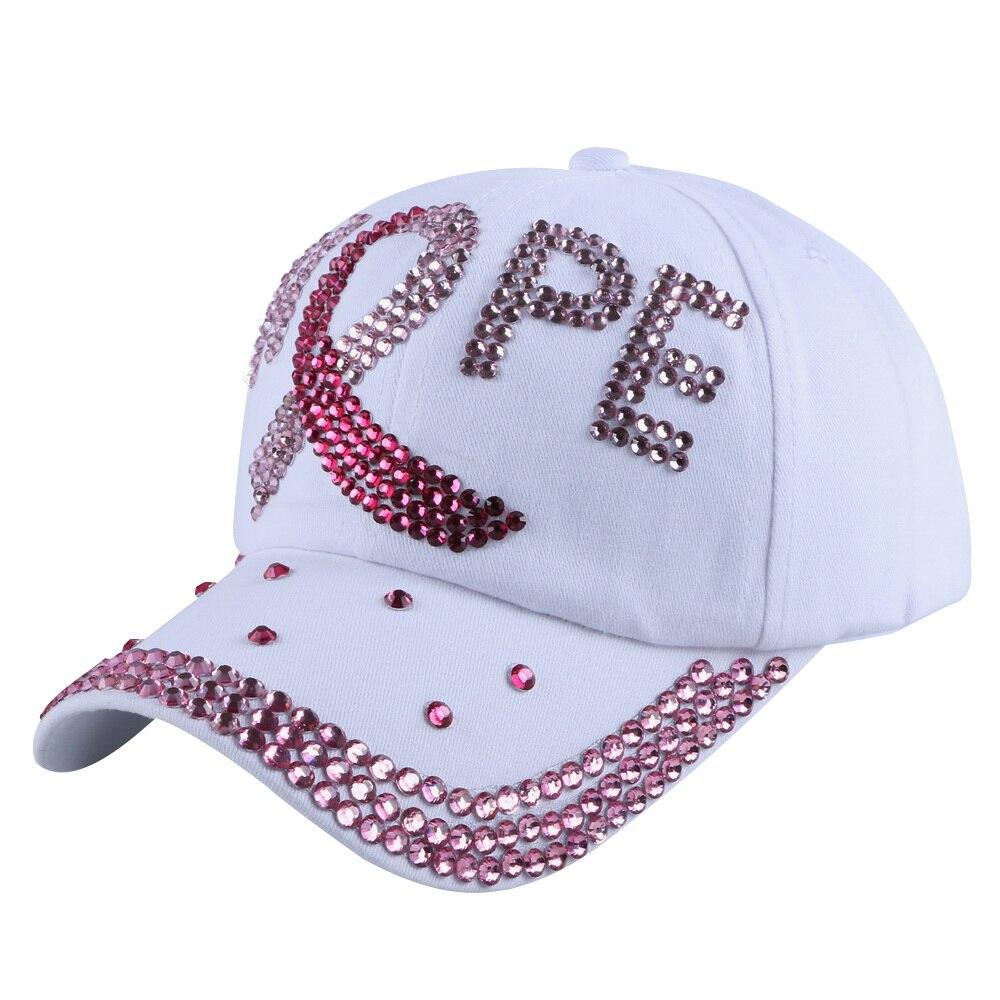 new arrival designer HOPE letter women girl luxury baseball cap pink fuchsia rhinestone denim brand snapback casquette gorras