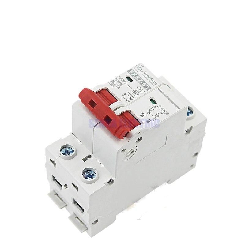 2P DC 1000V Solar Mini Circuit Breaker 10A//16A//32A//50A//63A DC Photovoltaic MCB