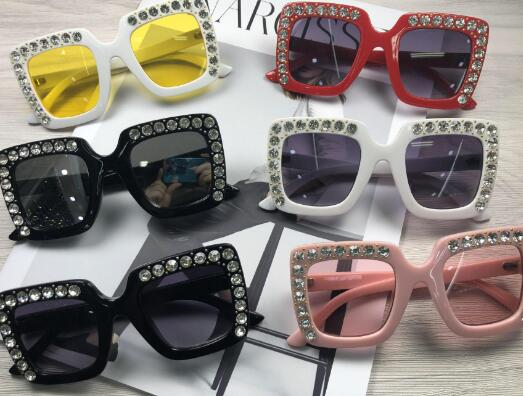 Children's tide new fashion box diamond sunglasses Girls' face Korean retro character XWD1-XWD7