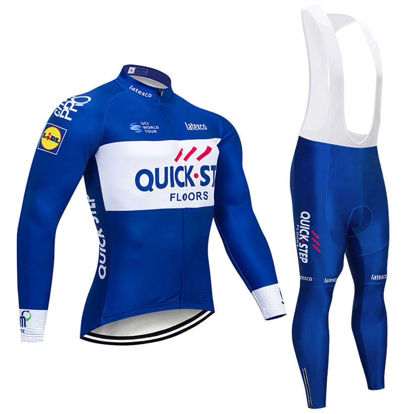 Winter 2018 Team QUICK STEP CYCLING jacket 9D pad bike Pants ropa ciclismo  men Thermal Fleece f13b13e70