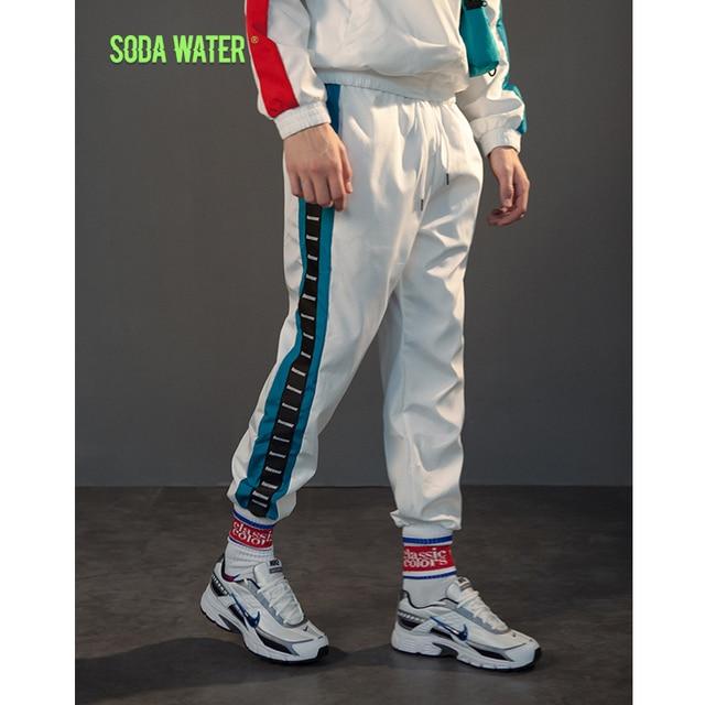 4170c1ebd SODA WATER Mens Sweatswear Pants Letter Printing Side Stripe Lightweight  Casual Track Windbreaker Men Vintage Sweatpants 8892WS