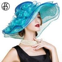 FS Королевский Голубой Для женщин Большой широкими полями Лен фетровая шляпа для дам Цветочные Свадебная вечеринка Летние Элегантные Дерби ...