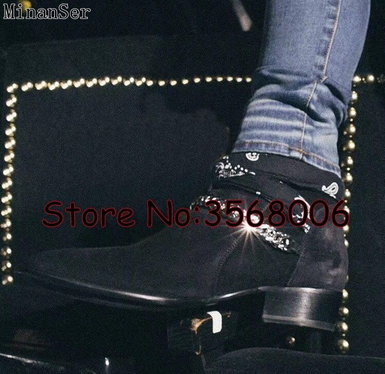 Mężczyźni moda włochy projektant Slip on krótkie buty buty zamszowe skórzane rzym stylu na świeżym powietrzu okrągłe Toe Chelsea buty buty męskie buty w Buty sztyblety od Buty na  Grupa 2