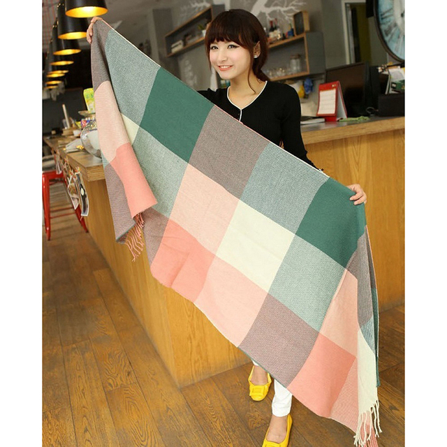 Pretty Artificial Wool Winter Scarf Women Spain Desigual Scarf Plaid Thick Shawls and Scarves for Women
