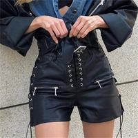 PU Leather Shorts Women Sexy High Waist Lace Up Black Leather Shorts Summer Bodycon Sexy Ladies Party Street Punk Casual Shorts