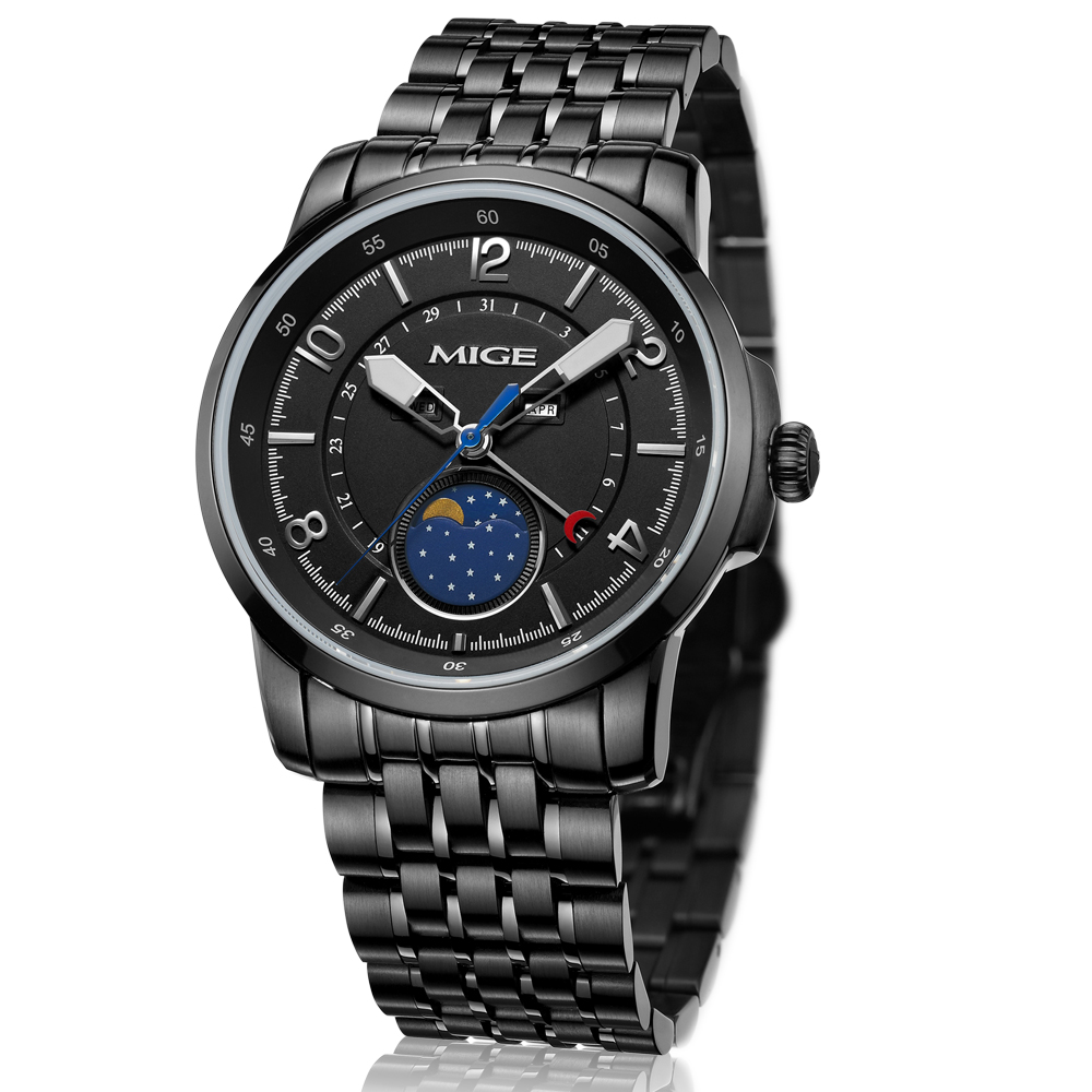 2017 Sale Sport Chronograph Watch Black White Steel Watchband Saphire Dial Waterproof Quartz Multiple-function Man Wristwatches mige 2017 real time limited rushed sale man watch black white steel watchband business waterproof quartz movement mans watches