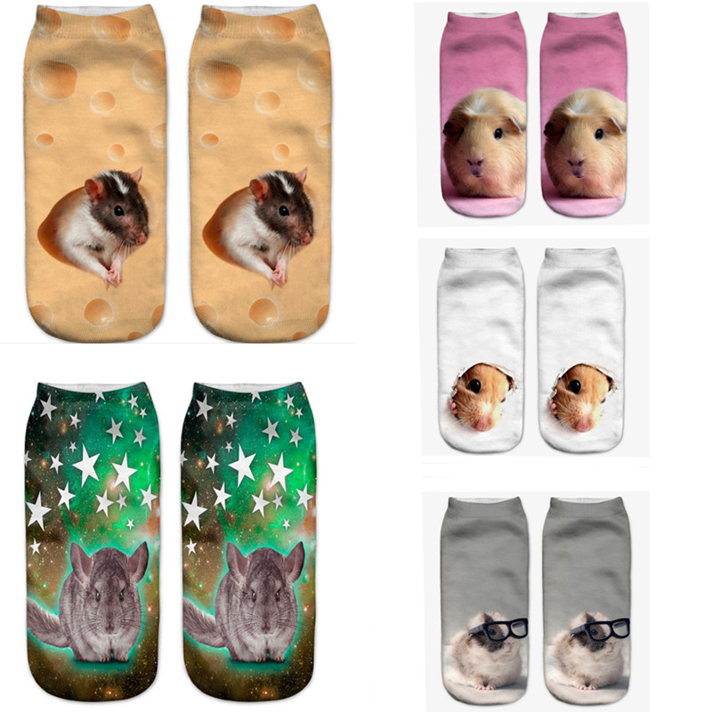 SLMVIAN Gray Mouse New Arrival 3D Pug Dog Print   Socks   Casual Harajuku Art   Socks   Low Cut Animal   Sock   Ankle Women's   Sock   Short