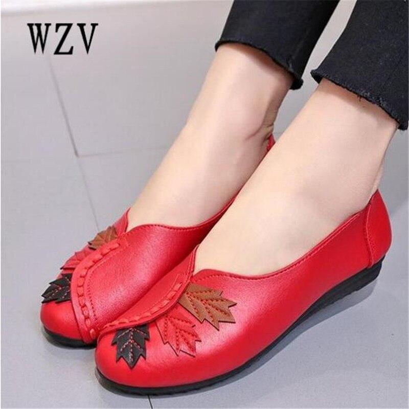 2018 de las mujeres zapatos planos mocasines Slip on mocasines zapatos de Ballet de cuero genuino de moda Casual zapatos de mujer zapatos calzado E003