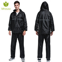 Mrosaa Raincoat Suit Impermeable reflective stripe Women/Men Hooded Motorcycle Poncho Adult Rainwear Hiking Fishing Rain Gear