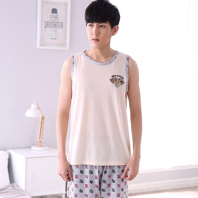 M-4XL Mens 100% Cotton Summer Vest Pajamas Sets Male Loungewear Casual Sleepwear Shirt + Pant 2pcs  Sleeveless Homedress