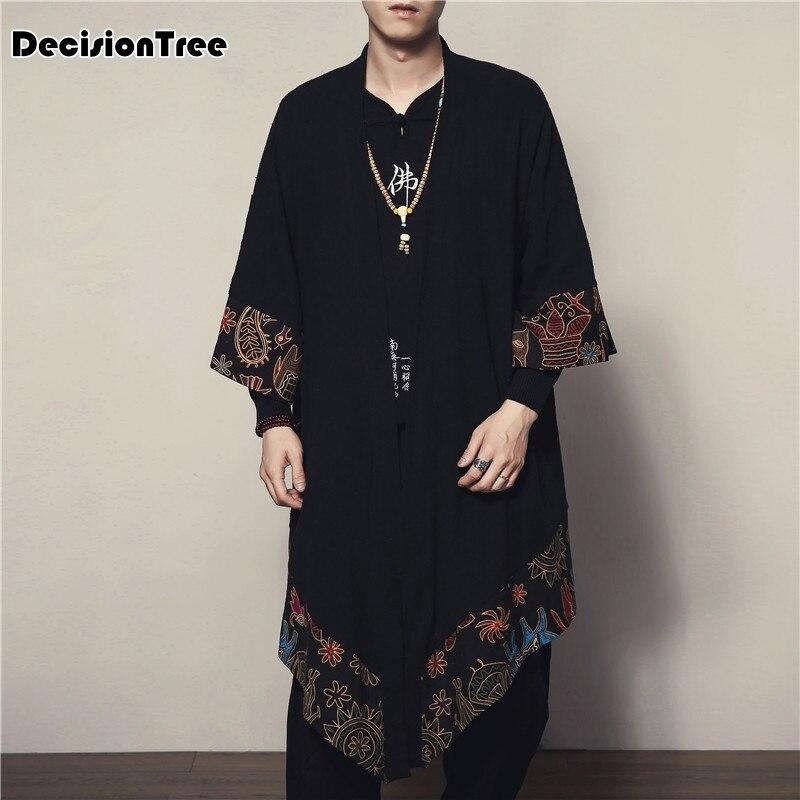 2019 new Men Cotton Linen Cardigan Jacket Chinese Style Male Fashion Casual Loose Windbreaker Kimono Shawl Outerwear Coat