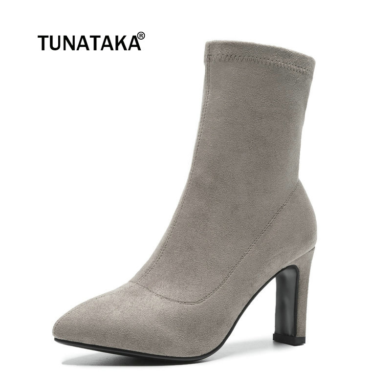 Women Suede Thin High Heel Ankle Boots Fashion Zipper Boots Ladies Fall Winter Pointed Toe Booties Black Gray stiletto women ankle boots medium heel fashion designer suede pointed toe winter short zipper pointy fall booties 9 shoes 2017