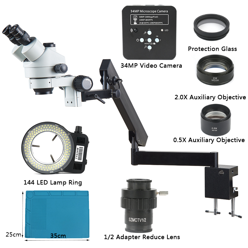 3 5X 90X Articulating Arm Pillar Clamp Zoom Simul Focal Trinocular Stereo Microscope 34MP Video Camera