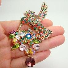 Ретро стиль красочные кристалл стразы нежный колибри коллекция брошь-пен(China (Mainland))