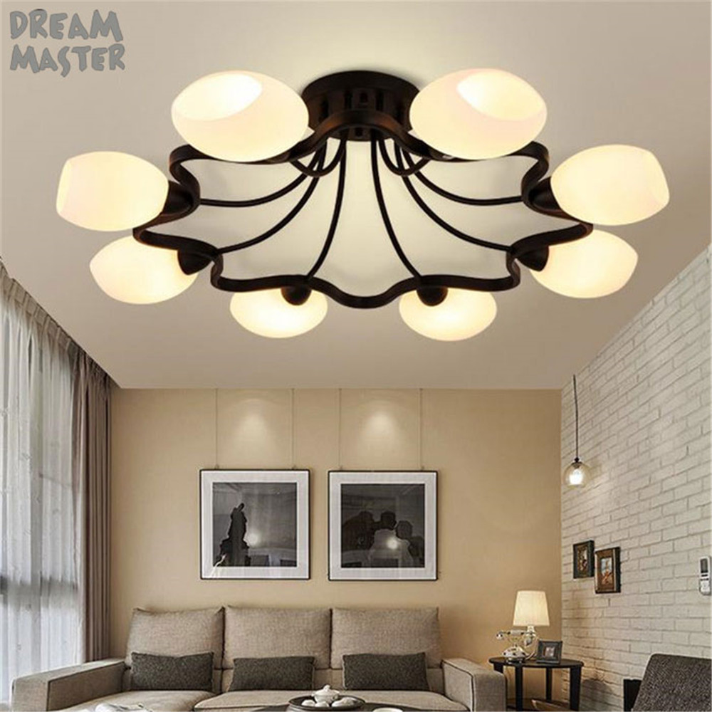 4/6/8 milky lampshades glass ceiling lights chandelier lustre black Iron ceiling lighting living room bedroom ceiling lamp deco american iron ceiling chandelier modern european bedroom living room lamp restaurant 3 5 6 8 circulars milky lampshade wall lamp