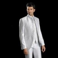 Italian Men Suits Men's Classic Suit White Men Suit for Wedding Stand Collor Groom Slim Fit Man's Blazer Groom Tuxedo 3 PieceS