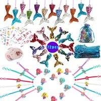 Вечерние платья русалки 72 шт., подарочный набор для вечеринки, дня рождения, дня рождения, для девочек, вечерние украшения русалки