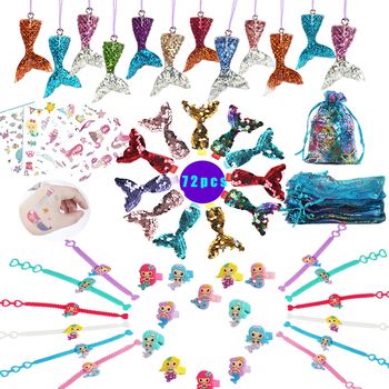 72pcs Mermaid Party Favor Supplies Birthday Themed Parties Gifts Kit Guests/Girls The Little Decorations - discount item  12% OFF Festive & Party Supplies