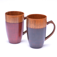 Premium Wooden Cups With Handle Red Black Color 320ml Hand Made Coffee Tea Water Cups For