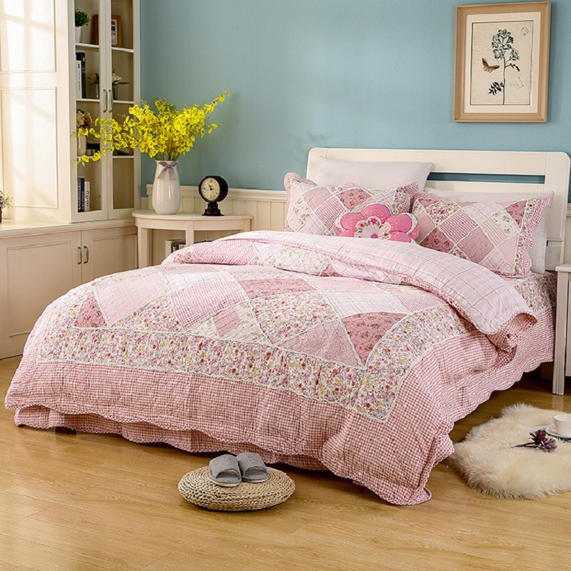 CHAUSUB PINK Washed Cotton Patchwork Quilt Set 3PCS Floral Bedding Quilted Bedspread Bed ...