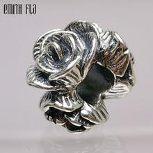 Vintage 925 Sterling Silver Rose Flower Charm Beads fit Original European Bracelet Jewelry Making Women DIY Gifts