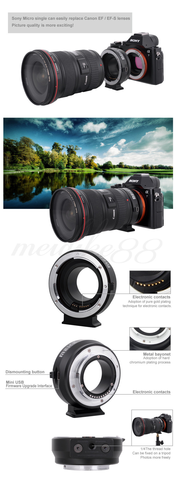 MK-S-AF4 Auto Focus mount lens adapter ring for SONY micro single camera to Canon EFEF-S Lens (3)