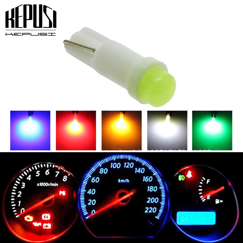 1Pc T5 COB Car dashboard light instrument Automobile Door Wedge Gauge reading lamp bulb Car Styling white blue red purple 12V