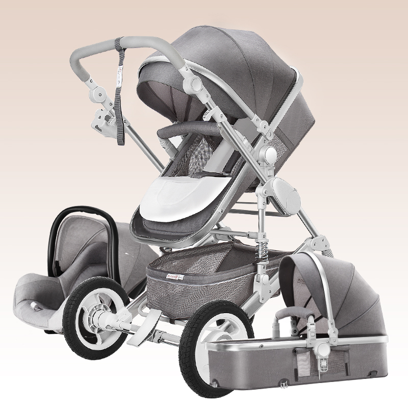 3 in 1 Luxury Baby Stroller with Car Seat For Newborn High View Folding Blue