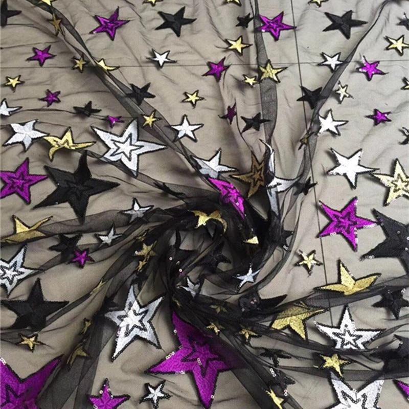 FFLACELL 5หลาที่สวยหรูประดับด้วยเลื่อมT Ulleผ้าปักดาวชุดเจ้าสาวตาข่ายผ้ากว้าง125เซนติเมตร-ใน ผ้า จาก บ้านและสวน บน   2