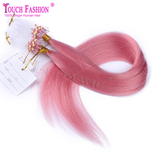 Top Quality Pink Color Micro Loop Ring Links Virgin Straight Human Hair Extensions Peruvian Hair Micro Loop Ring Hair Extensions