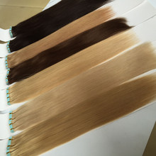 "Straight PU Skin Weft Hand Tied Tape In Adhesives 100% Brazilian Virgin Human Hair Extensions 12-24"" 40Pcs Double Drawn Hair(China)"