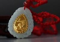 Een Grade Natuurlijke Witte Hetian 24 K Geel goud Draak Hanger Met Certificaat