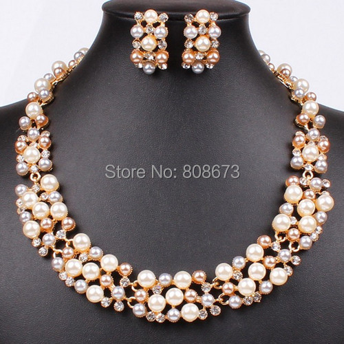 High Quality Fancy Gold Tone 3 Mixed Color Pearl Bridal Wedding Jewelry Sets Necklace Earrings Hot Sale Elegant Gift For Girls