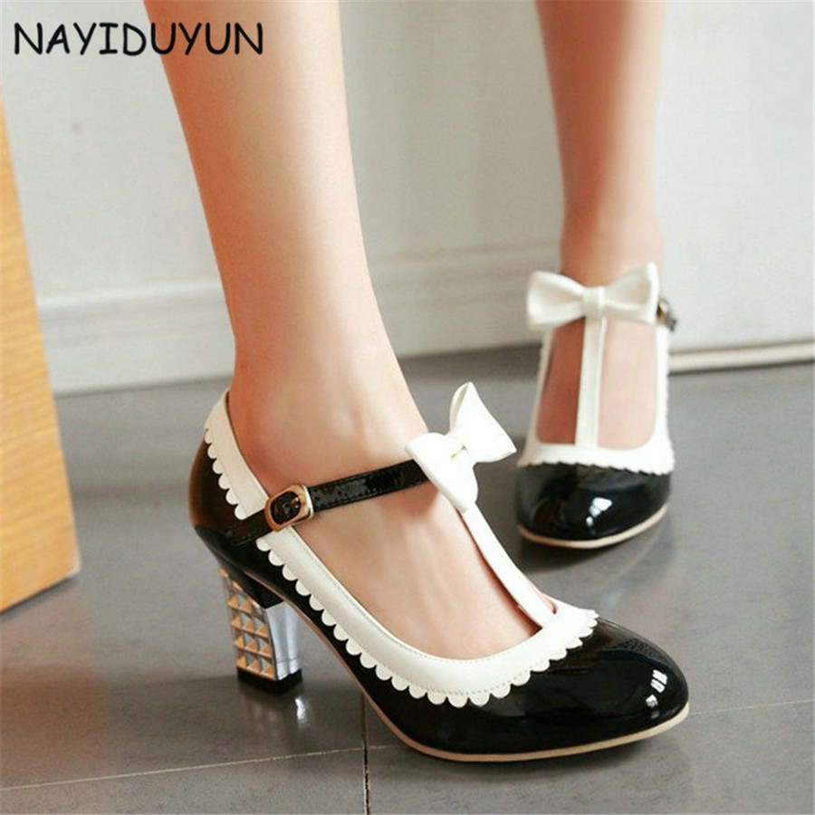 NAYIDUYUN     New Fashion Women Patent Leather Mary Janes Wedding Pumps Cuban High Heels Ankle Boots Casual T Strap Party Shoes nayiduyun new fashion thigh high boots women genuine leather round toe knee high boots high heel party pumps casual shoes