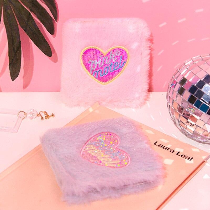 Peach Heart Wallet Female Short Purse Women Card Holder Cute Plush Embroidered Laser Money Bag For Girl Student Kawaii Wallet